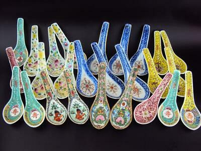 26 X Chinese Antiques Oriental Porcelain Blue White Famille Rose Bowl Spoons