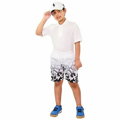 Kids Girls Boys Shorts Two Tone Summer Camouflage Grey Chino Knee Length Pants.
