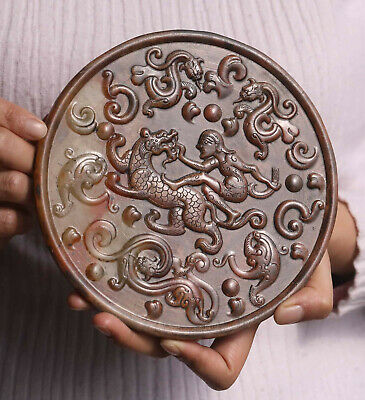 Old Chinese natural jade hand-carved statue of dragon and woman plate Bi
