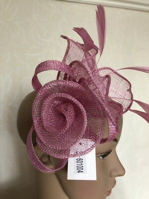 Dusky Lilac Purple Fascinator Headband Comb Wedding Ladies Race Day