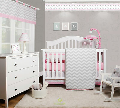 6-Piece Pink Grey Chevron Baby Girl Nursery Crib Bedding Sets By OptimaBaby