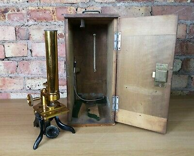 Vintage Brass Metal Science Microscope In Wooden Box Case Late 19th Century