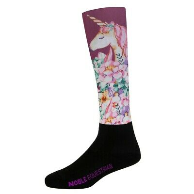 New! Noble Equestrian Girls Over The Calf Peddies unicorn Long Riding Socks