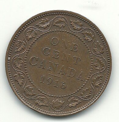 High Grade Xf 1916 Canada Large One Cent-May678