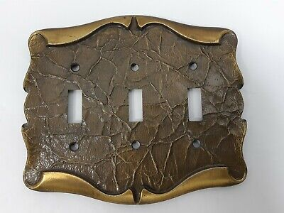 Vintage Amerock Carriage House 3 Toggle Light Switch Plate Antique Brass Cover