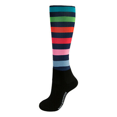 New! Noble Equestrian Over The Calf Peddies Striped Long Riding Socks