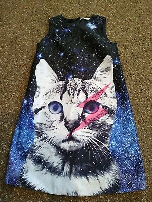 Girls Marks & Spencer Age 11-12 Years Space Pussy Cat Sleeveless Dress M&S VGUC