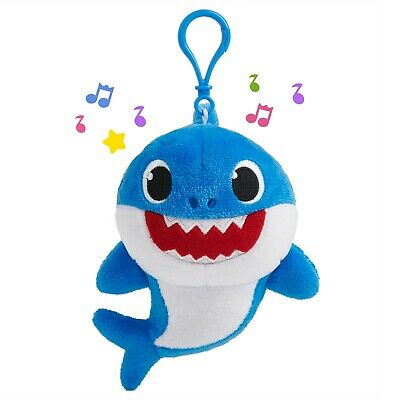 Pinkfong Baby Shark Singing Plush Clip Blue Daddy Shark, NEW