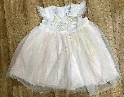 Disney Baby Girls Bambi Flower White Pink Party Dress 6-9 Months