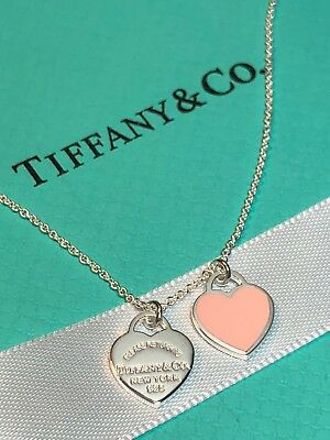 Return To Tiffany Pink Enamel Mini Double Heart Tag 16 Silver Necklace 99 95 Picclick
