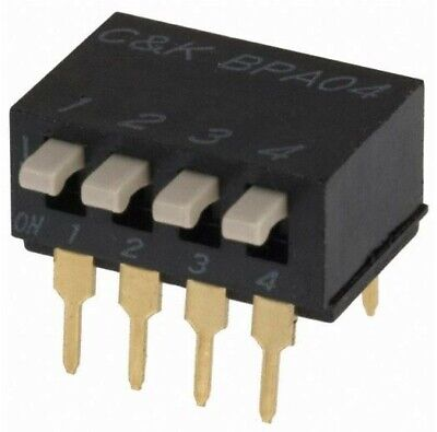 35 PCS-BPA04B, C&K, Dip Switch SPST 4 Position Through Hole, Right Angle Piano