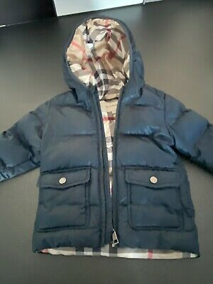 BURBERRY BOYS NAVY PADDED JACKET  VGC AGE 18 Months AUTHENTIC BURBERRY