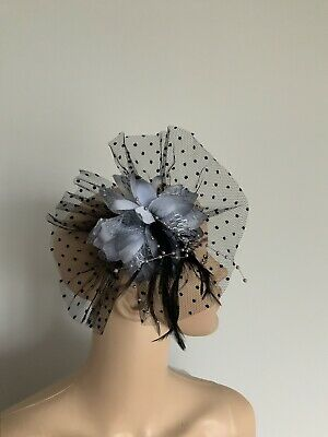 Grey Black Hair Clip Fascinator Wedding Ladies Race Day Accessories