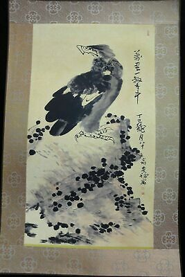 "Fine Rare Old Large Chinese Paper Painting Eagle ""LiKuChan"" Marks"