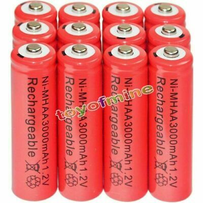 12x AA battery batteries Bulk Nickel Hydride Rechargeable NI-MH 3000mAh 1.2V Red