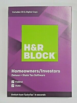 H&R BLOCK Deluxe + State Tax Software 2019 Federal State (CD & Digital) PC & Mac