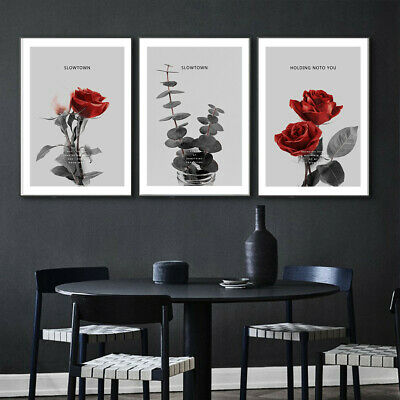 Red Rose Flower Romantic Canvas Poster Picture Wall Hangings Home Art Decor