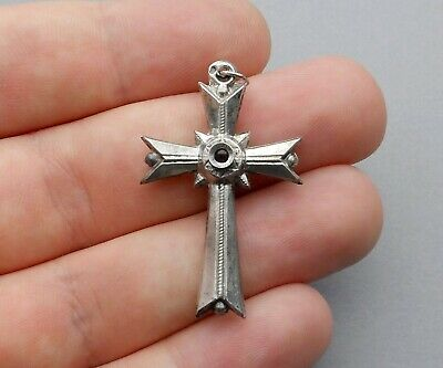 French, Antique Large Stanhope Cross. Lourdes. Pendant. Sterling Medal.