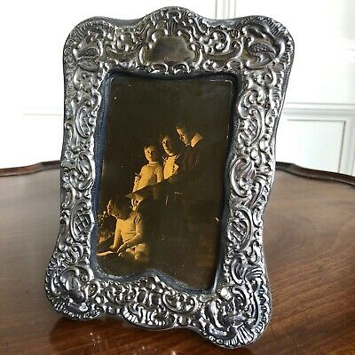 A Victorian Style Silver And Velvet Photograph Frame, Hallmarked London 1981.