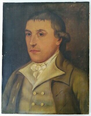 18Th/19Th Century Oil On Canvas Portrait Of A Gentleman - Antique Painting