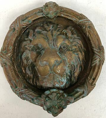 Large Vintage Brass Lions Head Ornate Architectural Decorative Door Knocker#951