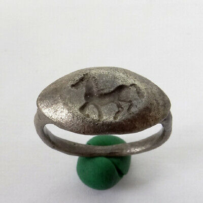 Roman Ancient Artifact Silver Ring With Horse