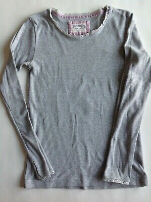 Johnnie B Mini Boden Girls Gray Pointelle Long Sleeve Top Lace Trim 13-14