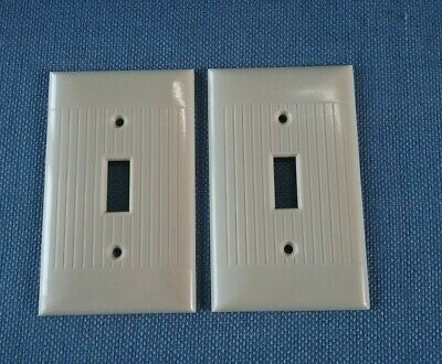 Vtg 2 Sierra Electric Switch Plate Covers Ivory Ribbed Art Deco Bakelite