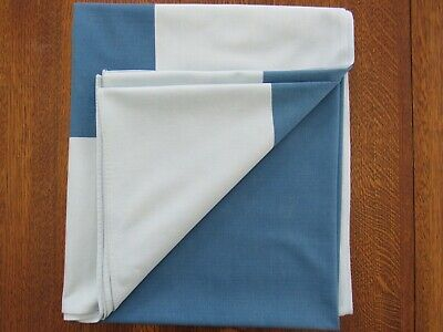 """Vintage Mid Century BLUE Tablecloth 53x62"""" Shades of Blue Cotton Rayon Blend"""
