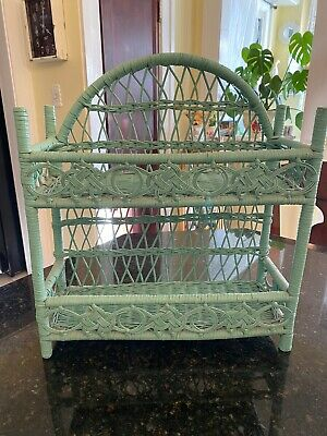 Vintage Green Wicker Rattan Shabby Cottage Chic Hanging Wall Shelf or Standing