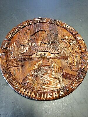 Hand carved wood wall art. A beautifully carved view of Honduras.