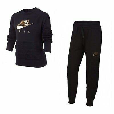 Nike Air Girl's Tracksuit (Black) - Age 10-12 - New ~ BV2703 010
