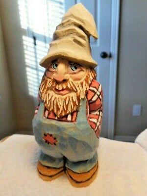 Hill Folk Carving Checkered Shirt Hand Carved Wood Figure