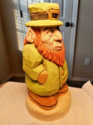 Saint Patrick's Day Leprechaun Carving Hand Carved Wood Figure