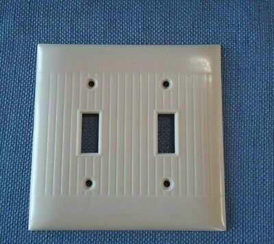 Vtg Sierra Electric Double Switch Plate Cover D-2 Bakelite Ivory Art Deco Ribbed