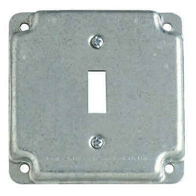 2 Gang 4 In. Square Metal Electrical Box Cover Single Toggle Switch Receptacle