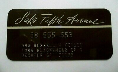 Saks Fifth Avenue Store Expired VTG Collectors Credit Card Obsolete
