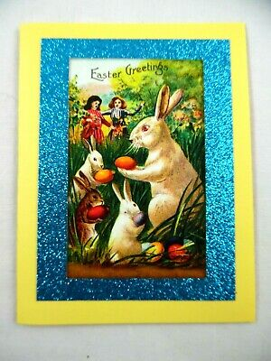 Handmade~Beautiful~Easter~Vintage Postcard Style~Victorian Style~Greeting Card