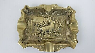 Vintage Brass Deer Stag Collectible Ashtray