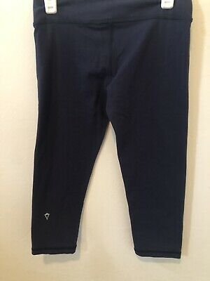 Ivivva By Lululemon Girls Size 10 Navy Blue Cropped Rhythmic Tights, Athleisure