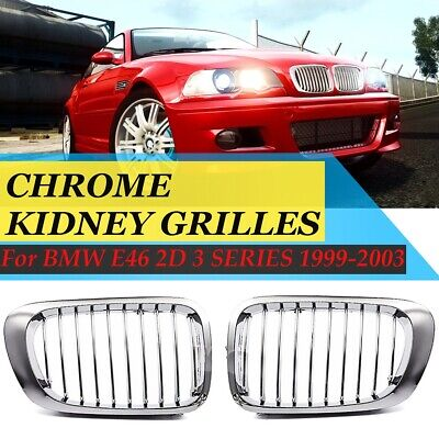 1 Pair Mesh Double Grille Front Kidney Bumper Grilles Front Fence Grill for B M W E39 5 Series 1995-2003 Artudatech Car Front Grill