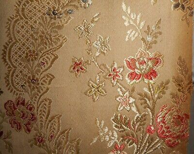 Antique 19thc French Floral Garland Silk Cotton Brocade Jacquard Fabric #1~ Aged