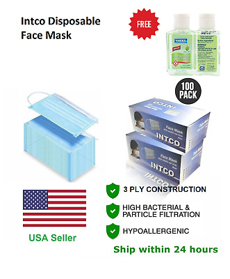 100 PCs Intco Medical Disposable Face Mask 3 Ply Earloop Free Hand Sanitizer