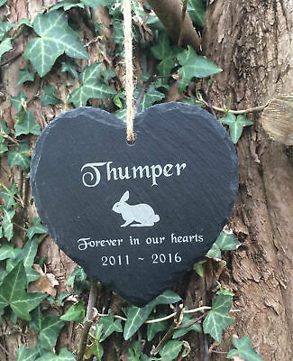 Personalised Slate Heart Pet Memorial Grave Marker Hanging Plaque for a Rabbit