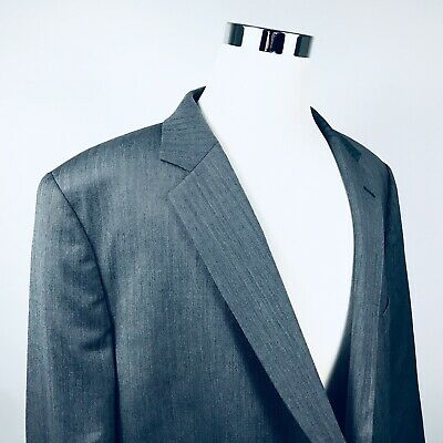 Jos A Bank Mens 52R Sport Coat 100% Wool Gray Herringbone Two Button Lined Vent