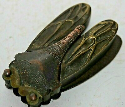 Very Interesting Chinese Bronze Cricket Inkwell With Character Marks Very Rare