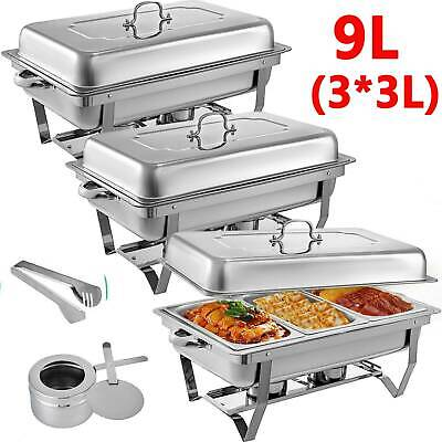 Electric Buffet Food Warmer Server 3 Tray Large Bain Marie Stainless Steel New