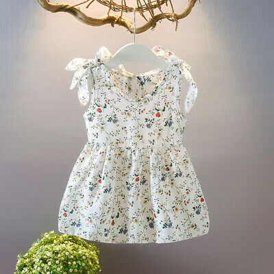 Toddler Baby Kids Dress  Girls Sleeveless Ribbon Bow Floral Princess Dress Skirt
