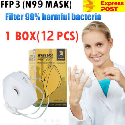FFP3 N95 N99 Healthcare Respirator Anti PM2.5 Particulate Mask Lot Of 12 Masks