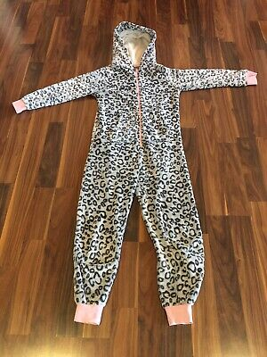 Gorgeous Next Snow Leopard hooded All In One Zip Up Pyjamas, OnsieAge 13